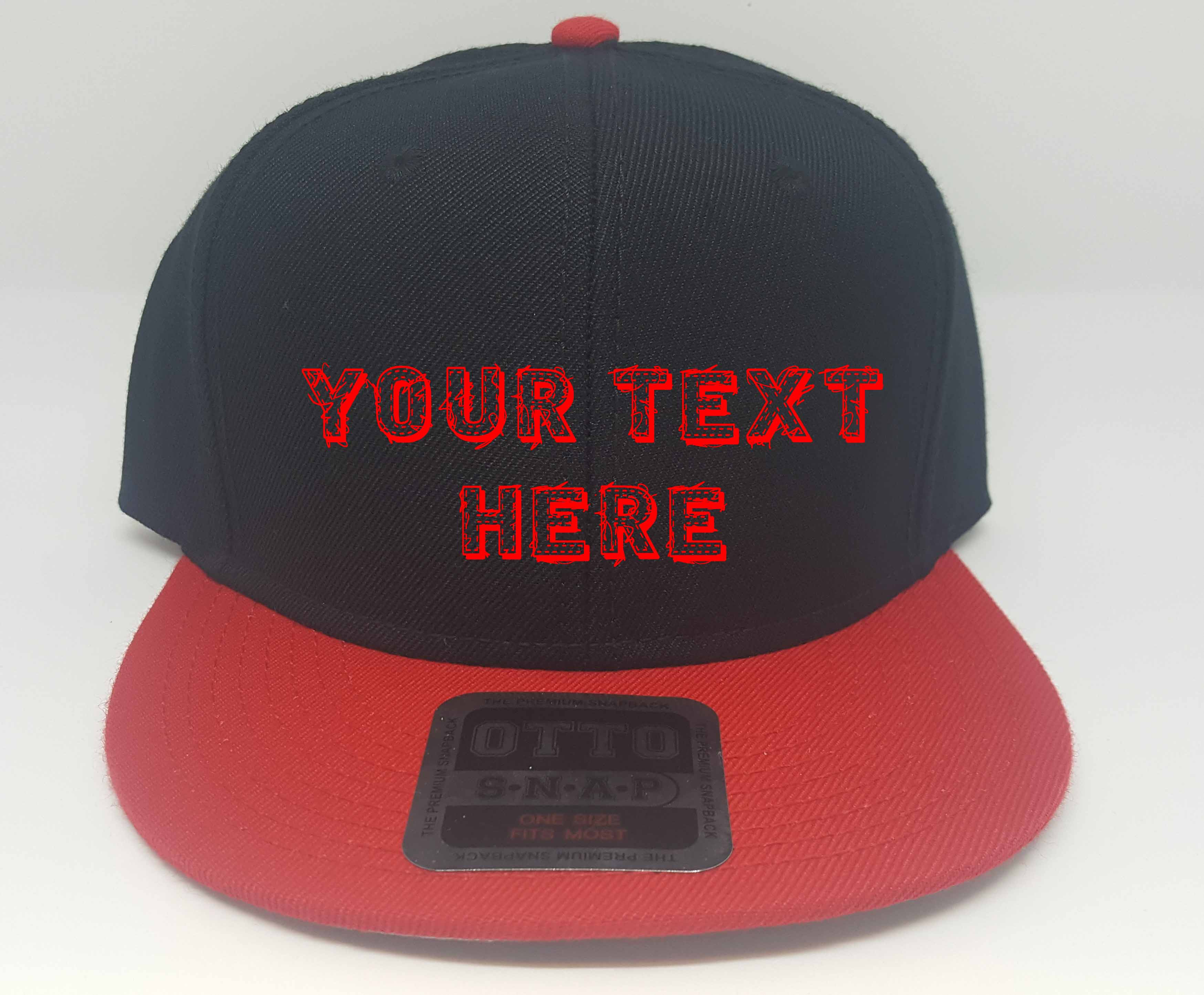 Details about Custom Embroidered Otto Wool Blend Twill Flat Visor Snapback  Pro Style Red Black e051ccc9cc8